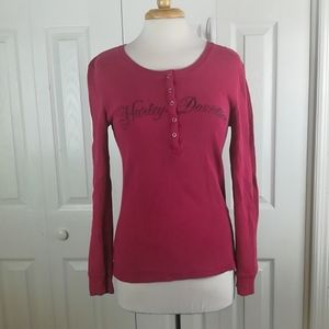 Harley-Davidson washed red thermal henley top